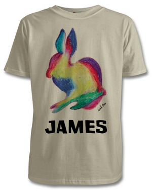 The Rabbit T-Shirt in White, Pink or Grey Kids 3-8 years