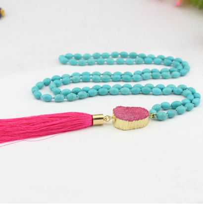 Hot Pink Be Bold Druzy Mala