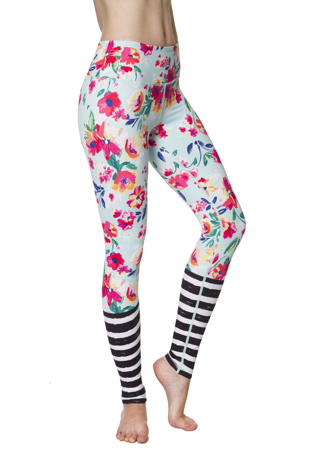 Floral and Stripe Flexi Yoga Leggings
