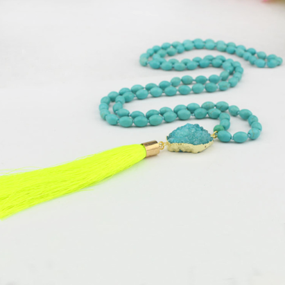 Neon Yellow Be Bold Druzy Mala