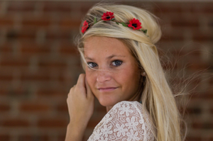 Red Daisies Flower Headband - Adult and Mini