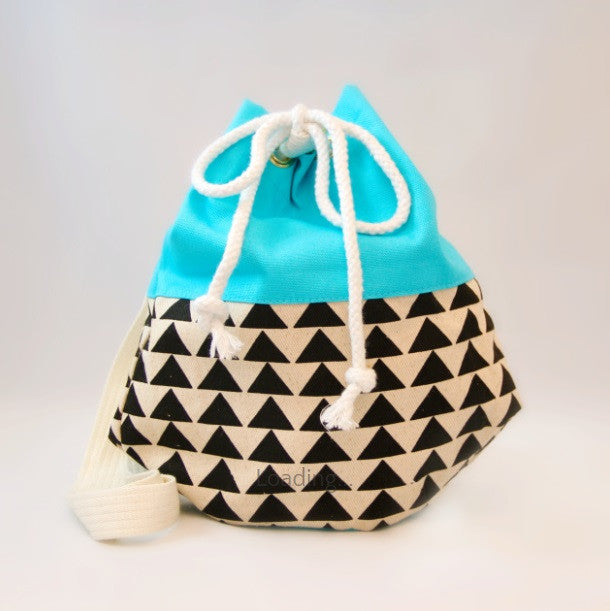 Pom Pom Bags - Blue with Black Triangles