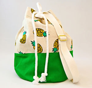 Pom Pom Bags - Green with Pineapple Design
