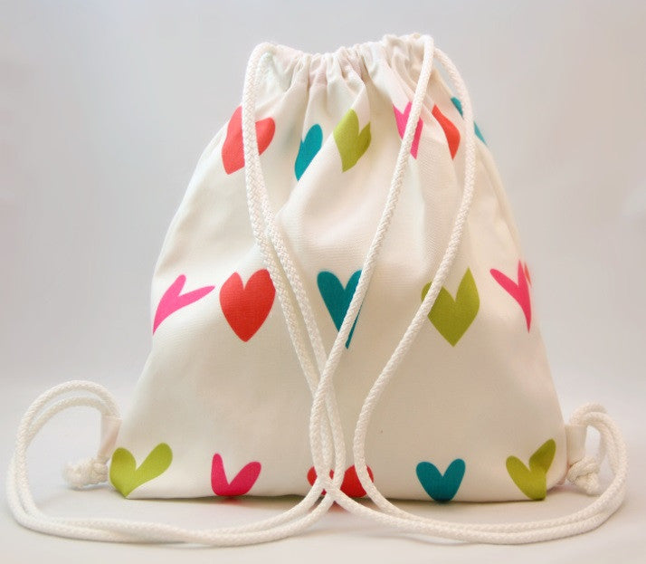 Wet Bag - White with Hearts Design