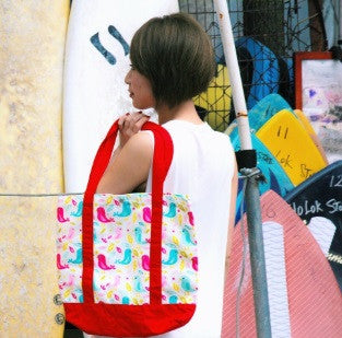 Tote Bag - Hello Birdies with Red Strap