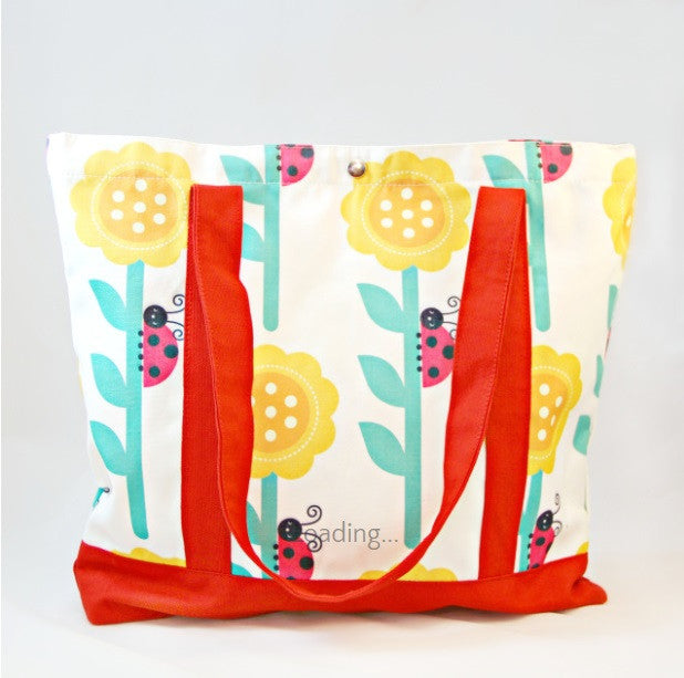 Tote Bag - Ladybirds with Red Strap