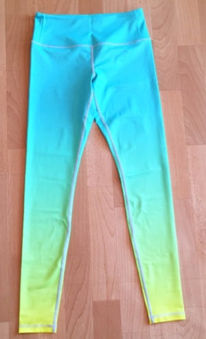 Mint Neon Yellow Ombre Flexi Yoga Leggings