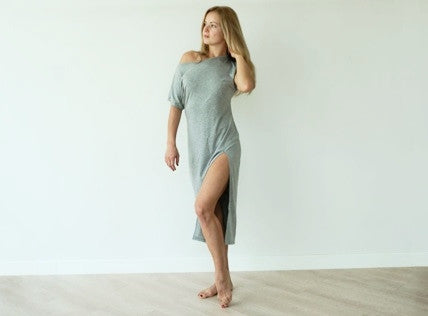Off The Shoulder Slit Dress - Grey