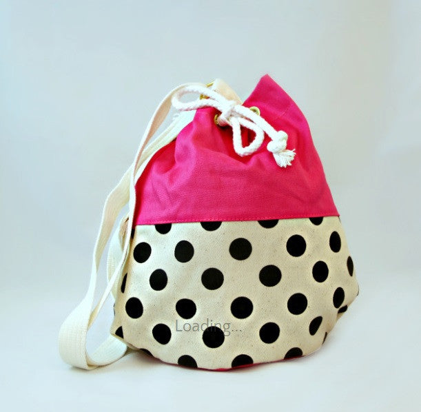 Pom Pom Bags - Pink with Black Polka Dots