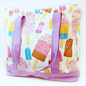Tote Bag - Popsicle with Lilac Strap