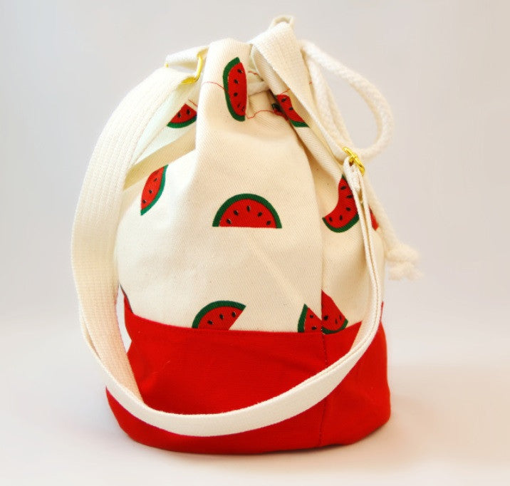 Pom Pom Bags - Red with Watermelon Design