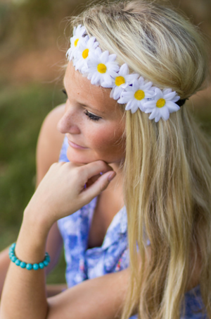 White Daisy Flower Headband - Adult and Mini Sizes