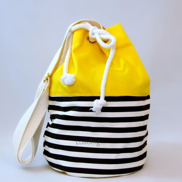 Pom Pom Bags - Yellow with Black Stripes