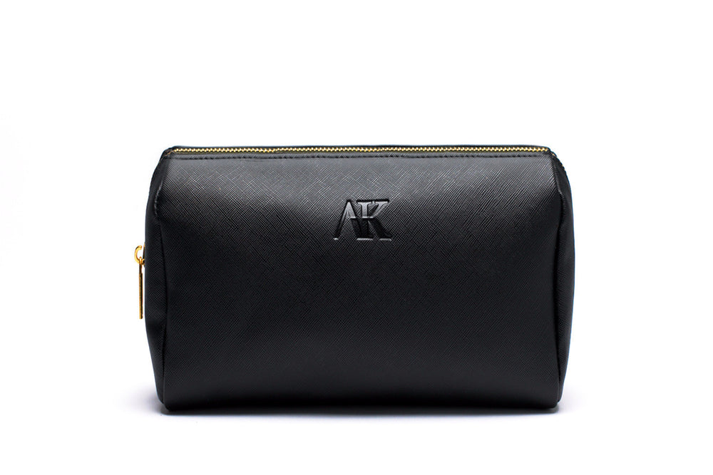 front angle of black makeup or cosmetic bag