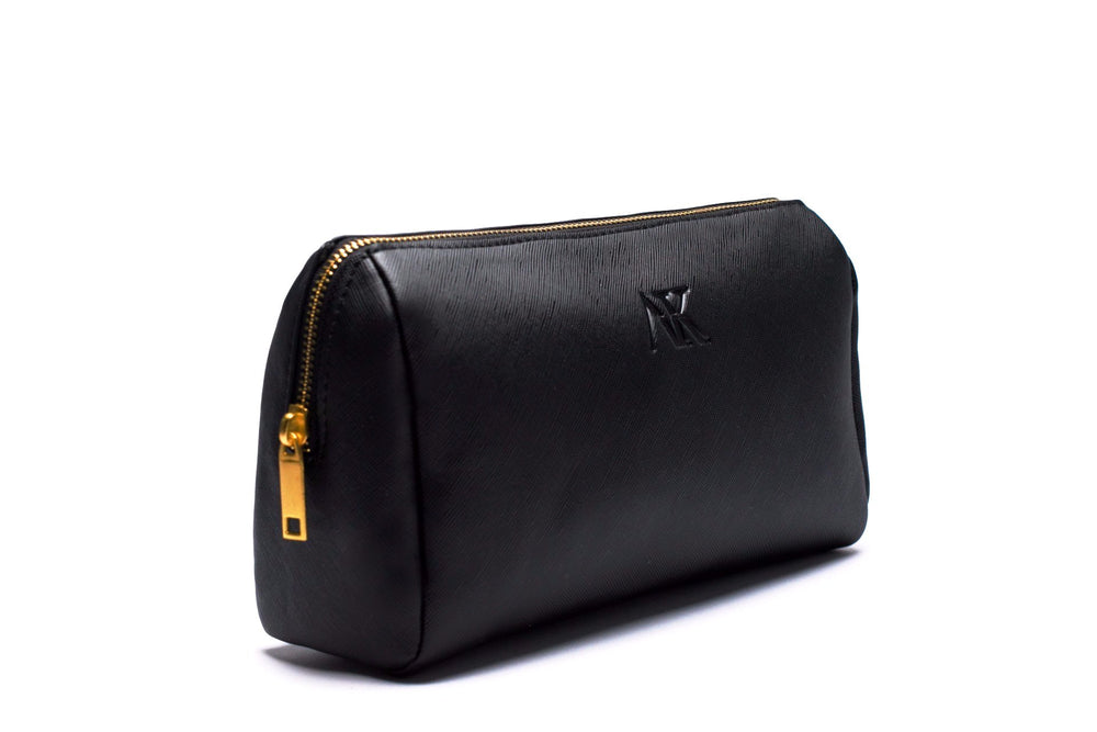 side angle of black makeup or cosmetic bag