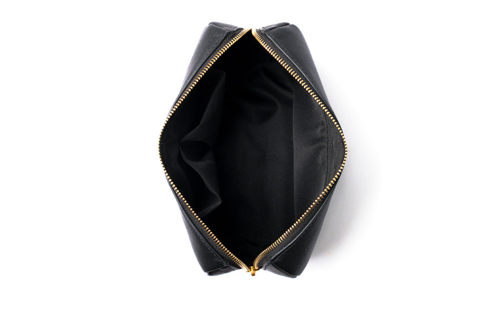 top angle of black makeup or cosmetic bag