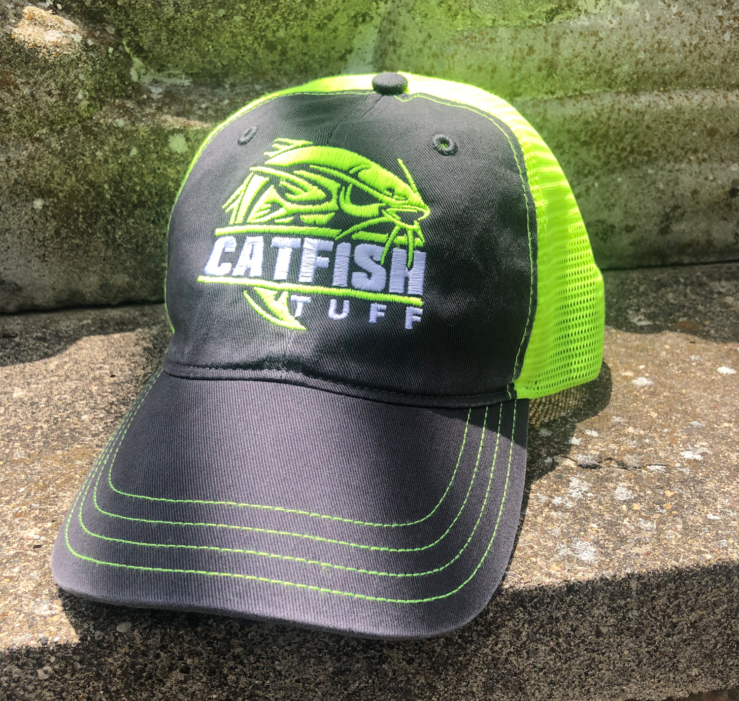 CatFish Tuff - Neon - Charcoal/Neon Yellow Richardson Garment Washed Trucker Cap