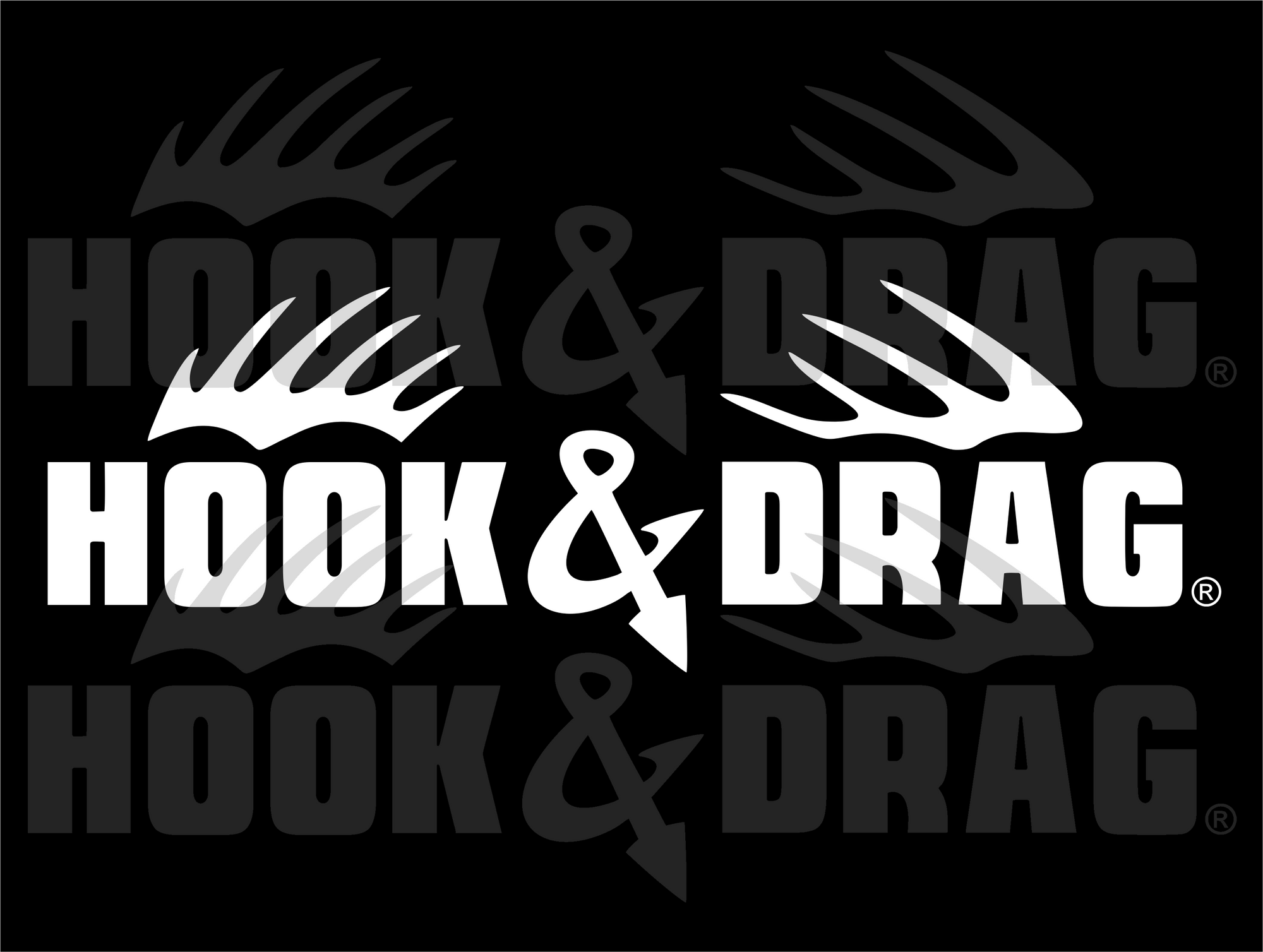 Hook & Drag 6x2 Decal  - White
