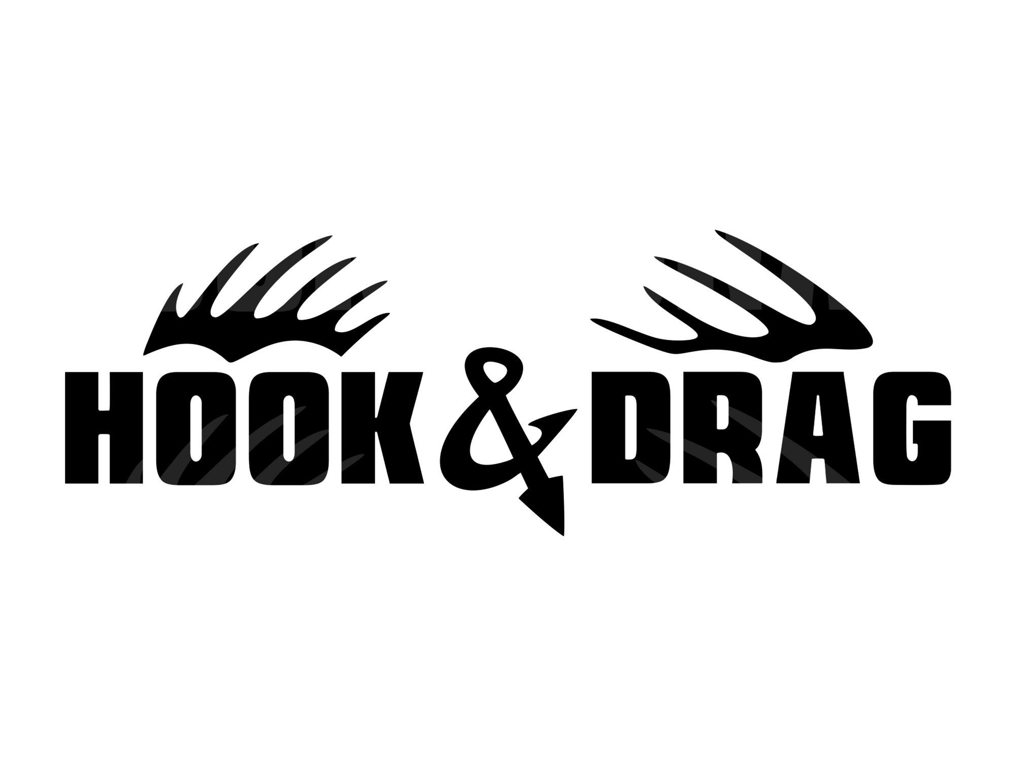 Hook & Drag 6x2 Decal  - Black