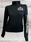 Walleye Tuff Sport-Tek® Ladies Sport-Wick® Stretch 1/2-Zip Pullover - Black - with THUMB HOLES