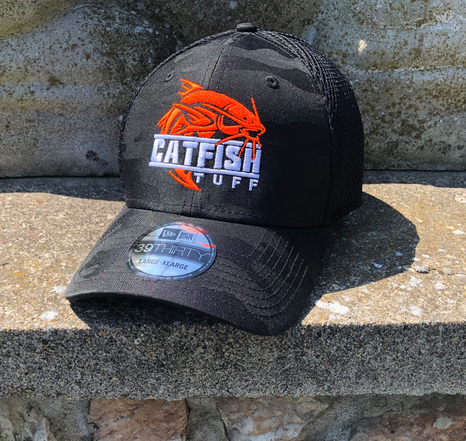 CatFish Tuff - Neon Orange  -  New Era ® Tonal Black Camo Stretch Tech Mesh Cap