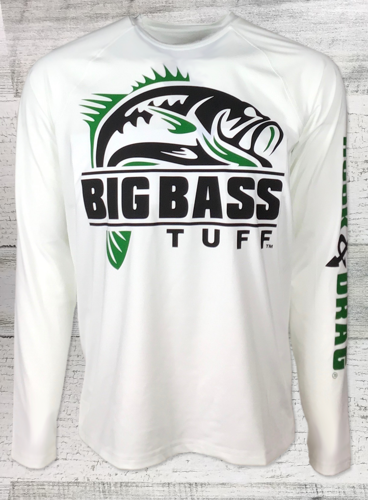 Big Bass Tuff Large Mouth Sport-Tek Posi-UV 50 ™ Pro White Long Sleeve Tee GR BLK