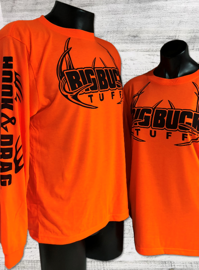 Big Buck Tuff Safety Orange Long Sleeve Pro Staff T-shirt
