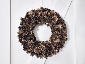 HANDMADE PINECONE WREATH - GOLD