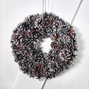 HANDMADE PINECONE WREATH - SNOW