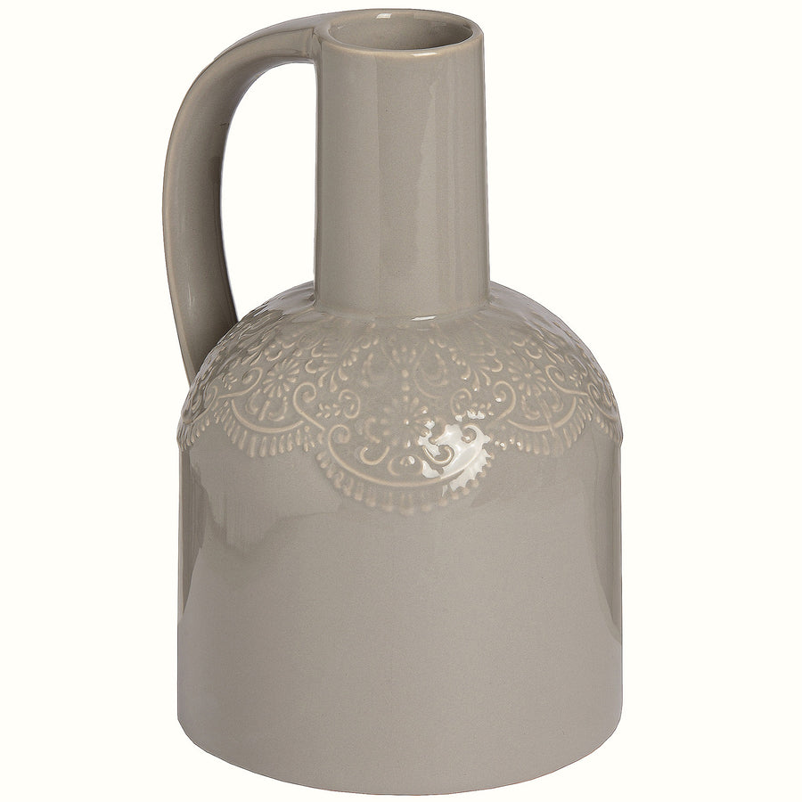 BEIGE CERAMIC LACE JUG
