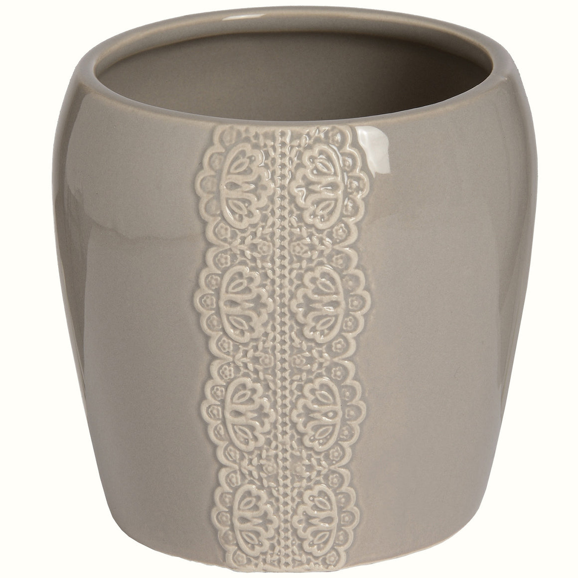 BEIGE CERAMIC LACE PLANTER