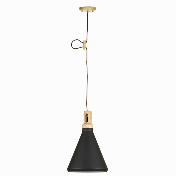 BLACK AND WOOD CEILING LAMP