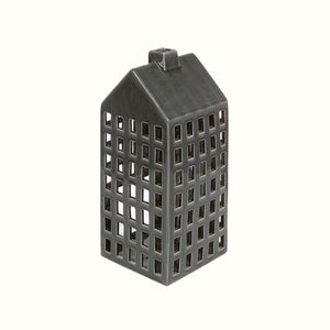 GREY CERAMIC HOUSE CANDLE HOLDER
