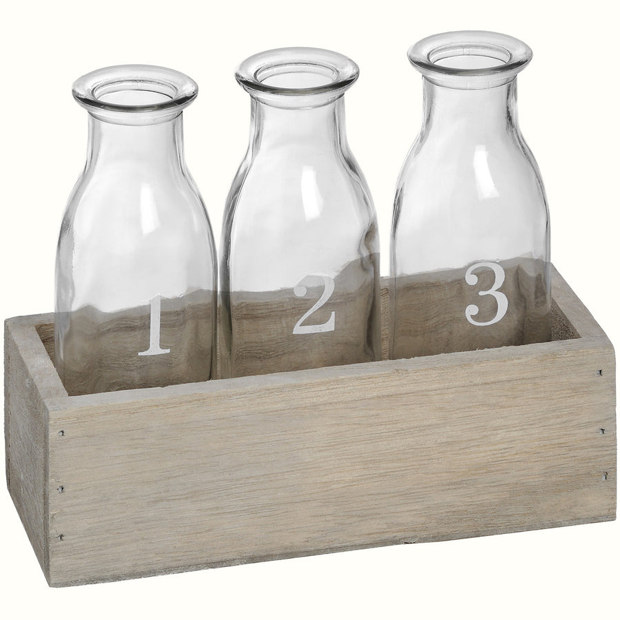 SET OF THREE GLASS BOTTLES