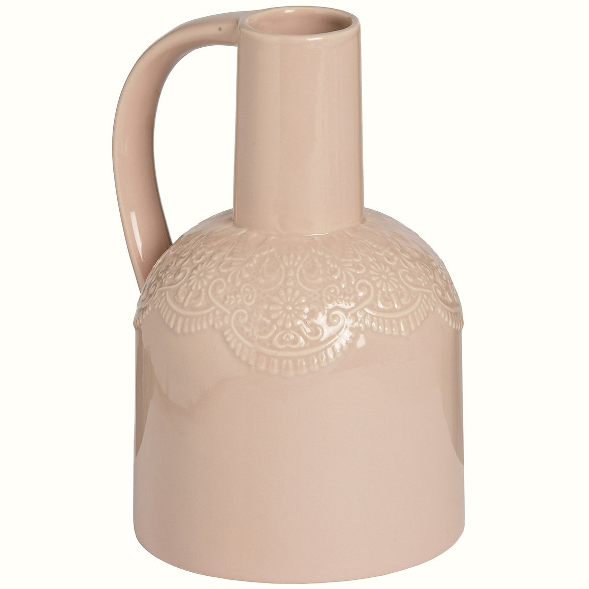 PINK CERAMIC LACE JUG