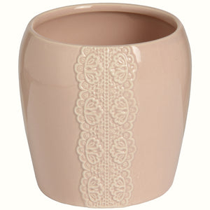 PINK CERAMIC LACE PLANTER