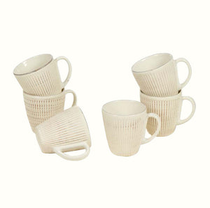 SET OF 6 CERAMIC MUGS (3 colours)