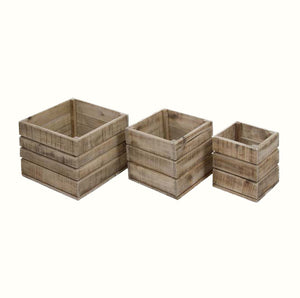 SET OF THREE WOODEN STORAGE BOXES