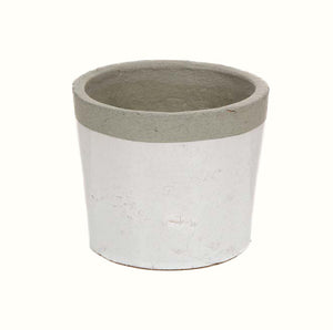 WHITE AND GREY CERAMIC PLANTER