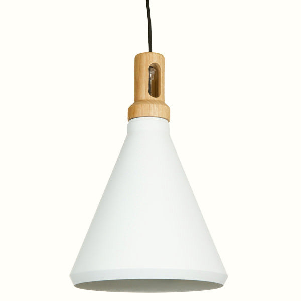 WHITE AND WOOD CEILING LAMP