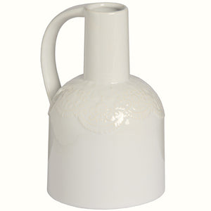 WHITE CERAMIC LACE JUG