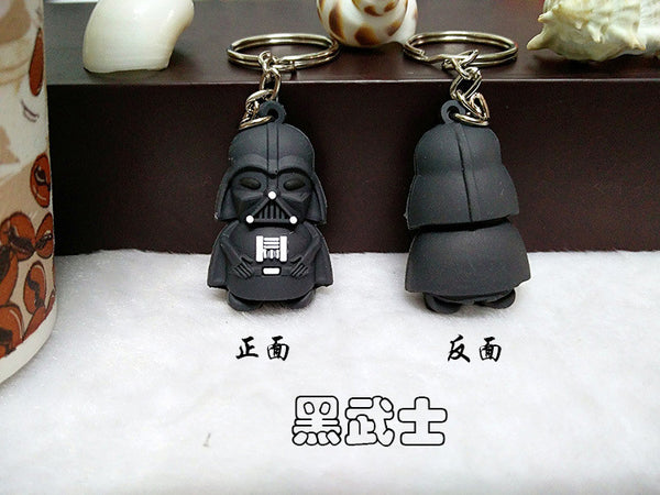 2017 New Star Wars Figures toy keychain Black Knight Darth Vader Stormtrooper PVC Action Figures toys 4cm Bag phone ornaments