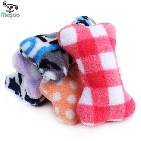 1pc Plush Pet Dog Sound Toys Bone Shape Puppy Cat Chew Squeaker Squeaky Toy