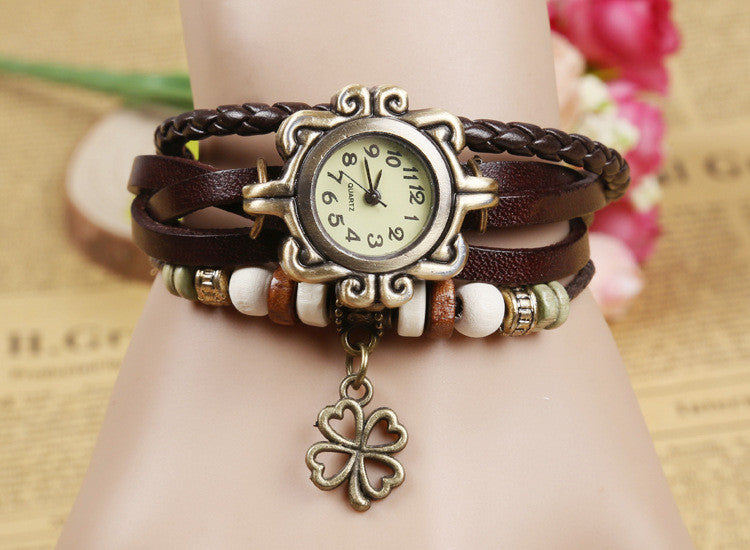 Hot Sales Vintage four-leaf clover pendant Genuine Cow Leather Watch women ladies fashion dress quartz wrist watch kow065