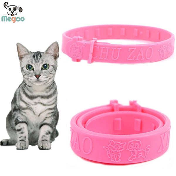 Soft Silicon Pet Cat Flea Collar Adjustable Practical Tick Mite Louse Reject Collar For Cats Kitten