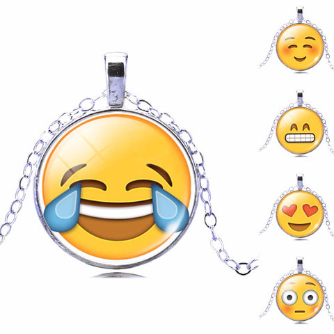 New Brand Jewelry 13 Style Silver Plated with Glass Cabochon Cute Emoji Pattern Choker Long Pendant Necklace for Women Gift