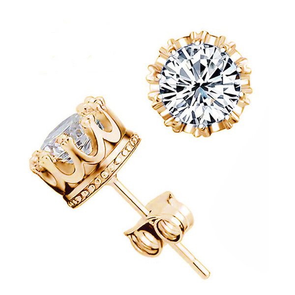 3 Colors Fashion Classic Lady Gold Plated Crystal CZ Diamond Jewelry Crown Stud Earrings For Women Girls Gift Brincos