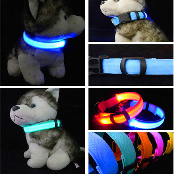 Nylon Pet LED Dog Collar Night Safety LED Flashing Glow LED Pet Supplies Pet Cat Collars Dog Accessories For Small Dogs Harness