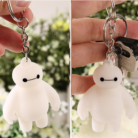 2 Pcs/lot! Big Hero 6 Baymax Anime Key Chain Head Moving Cute Action Figure Toy Pendant Keychain 5.5cm Free Shipping