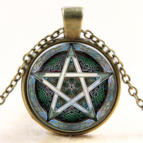 2016 Fashion Vintage Steam Punk Pentagram Glass Cabochon Galaxy Pattern Pendant Necklace Men Women Personality Collar Necklace